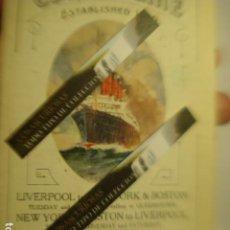 Líneas de navegación: CUNARD LINE - TRASATLANTICOS LUSITANIA Y FRANCONIA - AÑO 1911 PIEZA DE MUSEO - FOLLETO EUROPA USA. Lote 255474975
