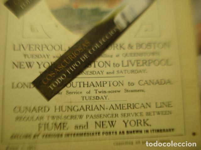 Líneas de navegación: CUNARD LINE - TRASATLANTICOS LUSITANIA Y FRANCONIA - AÑO 1911 PIEZA DE MUSEO - FOLLETO EUROPA USA - Foto 3 - 255474975