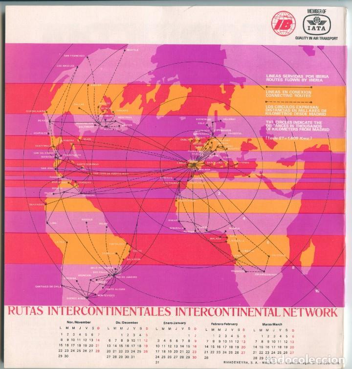 Líneas de navegación: IBERIA AVIACIÓN RUTAS INTERCONTINENTALES Y HORARIOS (1976/77) - Foto 2 - 261359120