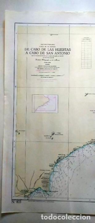 Líneas de navegación: DE CABO DE LAS HUERTAS A CABO DE SAN ANTONIO. INSTITUTO HIDROGRÁFICO DE LA MARINA. CÁDIZ, 1963 - Foto 2 - 262951045