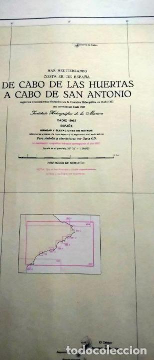 Líneas de navegación: DE CABO DE LAS HUERTAS A CABO DE SAN ANTONIO. INSTITUTO HIDROGRÁFICO DE LA MARINA. CÁDIZ, 1963 - Foto 6 - 262951045