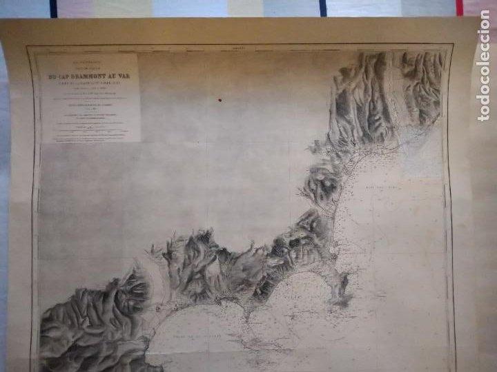Líneas de navegación: CARTA NÁUTICA - DU CAP DRAMMONT AU VAR. REPRODUCCIÓN DE 1953 DEL ORIGINAL DE 1911. - Foto 2 - 262954175