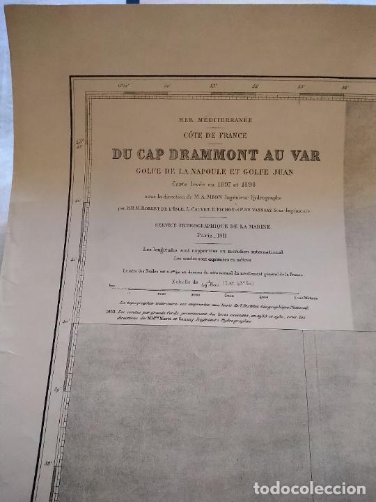 Líneas de navegación: CARTA NÁUTICA - DU CAP DRAMMONT AU VAR. REPRODUCCIÓN DE 1953 DEL ORIGINAL DE 1911. - Foto 5 - 262954175