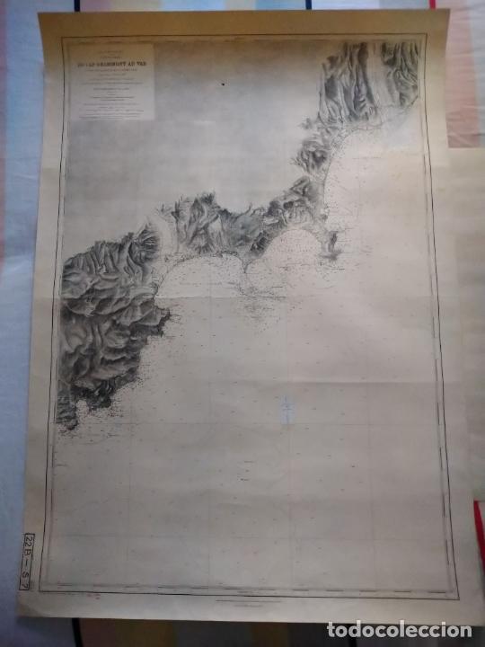 CARTA NÁUTICA - DU CAP DRAMMONT AU VAR. REPRODUCCIÓN DE 1953 DEL ORIGINAL DE 1911. (Coleccionismo - Líneas de Navegación)
