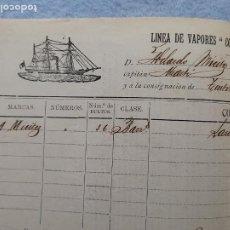 Lignes de navigation: DOCUMENTO LINEA DE VAPORES COMPAÑÍA MARÍTIMA DE BARCELONA. AÑO 1897. Lote 263231935