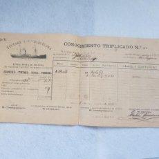 Lignes de navigation: AÑO 1898 COMPAÑIA TINTORE Y CIA BARCELONA BARCOS VAPOR HELICE. Lote 263721255