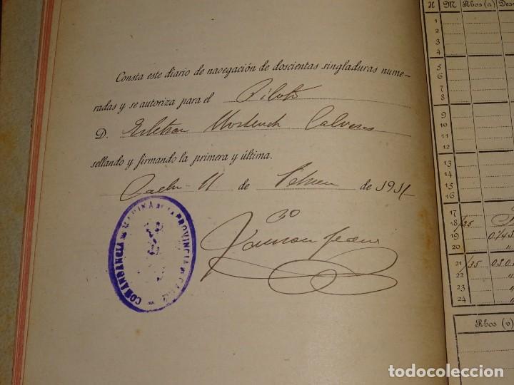 Líneas de navegación: LIBRO DIARIO DE NAVEGACION - LINEA DE VAPORES PINILLOS 1911, HABANA, PUERTO RICO, VALENCIA, CADIZ , - Foto 2 - 266516748