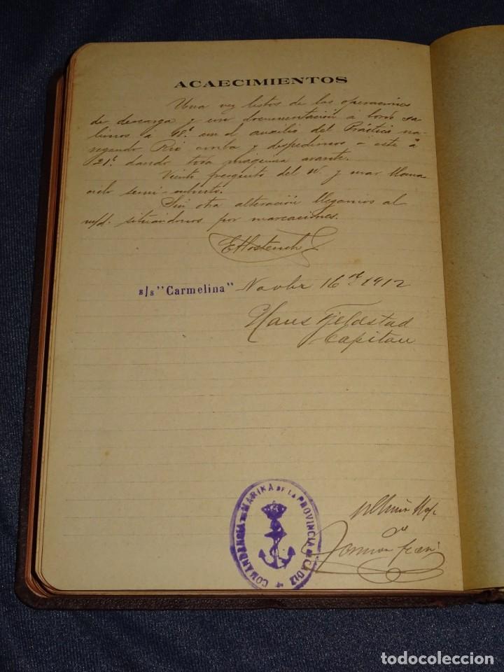 Líneas de navegación: LIBRO DIARIO DE NAVEGACION - LINEA DE VAPORES PINILLOS 1911, HABANA, PUERTO RICO, VALENCIA, CADIZ , - Foto 8 - 266516748