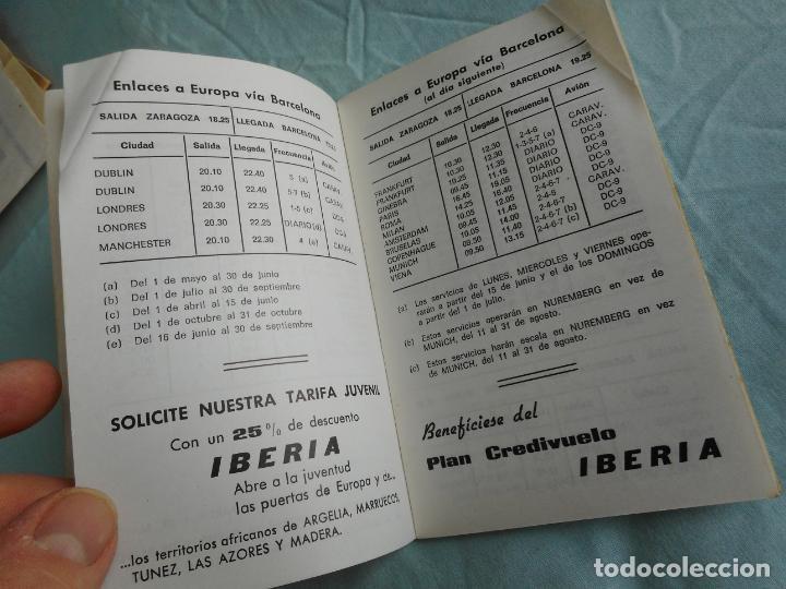 Líneas de navegación: IBERIA.LINEAS AEREAS ESPAÑA.HORARIOS LOCALES.DELEGACION ZARAGOZA 1969.EL CACHIRULO.RESTAURANTE - Foto 4 - 267518639