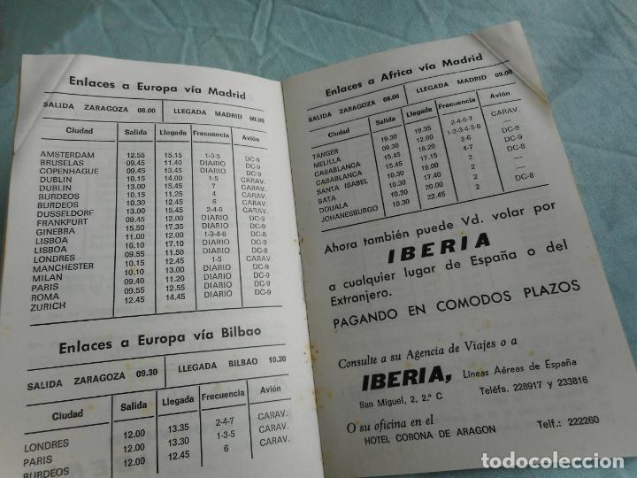Líneas de navegación: IBERIA.LINEAS AEREAS ESPAÑA.HORARIOS LOCALES.DELEGACION ZARAGOZA 1969.EL CACHIRULO.RESTAURANTE - Foto 5 - 267518639