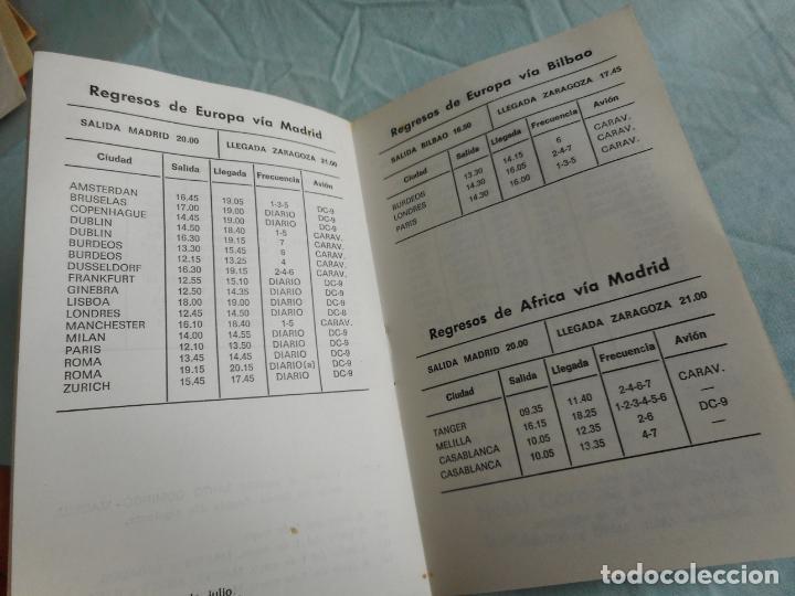 Líneas de navegación: IBERIA.LINEAS AEREAS ESPAÑA.HORARIOS LOCALES.DELEGACION ZARAGOZA 1969.EL CACHIRULO.RESTAURANTE - Foto 6 - 267518639