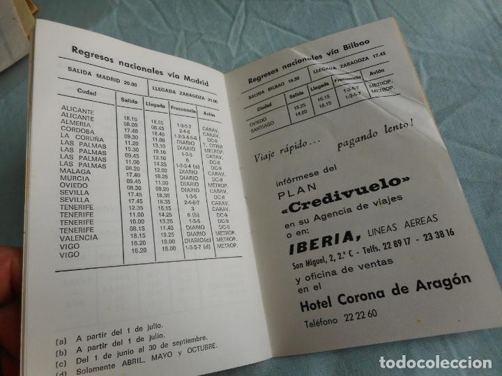 Líneas de navegación: IBERIA.LINEAS AEREAS ESPAÑA.HORARIOS LOCALES.DELEGACION ZARAGOZA 1969.EL CACHIRULO.RESTAURANTE - Foto 7 - 267518639