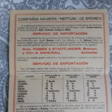 Líneas de navegación: COMPAÑIA NAVIERA NEPTUN.BREMEN.HOPPE Y CIA LTD.BILBAO.RABIEN & STADTLANDER.. Lote 279452298