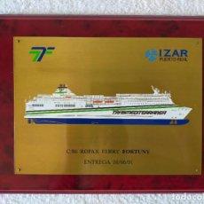 Linee di navigazione: TRASMEDITERRANEA BUQUE FERRY FORTUNY // PLACA CONMEMORATIVA ENTREGA - FACTORIA IZAR (PUERTO REAL). Lote 280564883