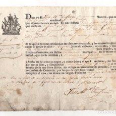 Linee di navigazione: CONOCIMIENTO EMBARQUE BERGANTIN EL GALGO. FECHADO EN LA GUAJIRA CON DESTINO A CADIZ. 1816. Lote 284744918
