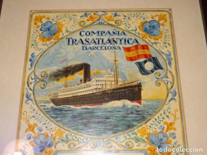 Líneas de navegación: (M) DIBUJO ORIGINAL CARTEL COMPAÑIA TRASATLÁNTICA BARCELONA AÑOS 20, BARCO - NAVIERAS - Foto 11 - 285061123