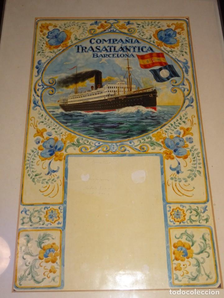 Líneas de navegación: (M) DIBUJO ORIGINAL CARTEL COMPAÑIA TRASATLÁNTICA BARCELONA AÑOS 20, BARCO - NAVIERAS - Foto 2 - 285061123