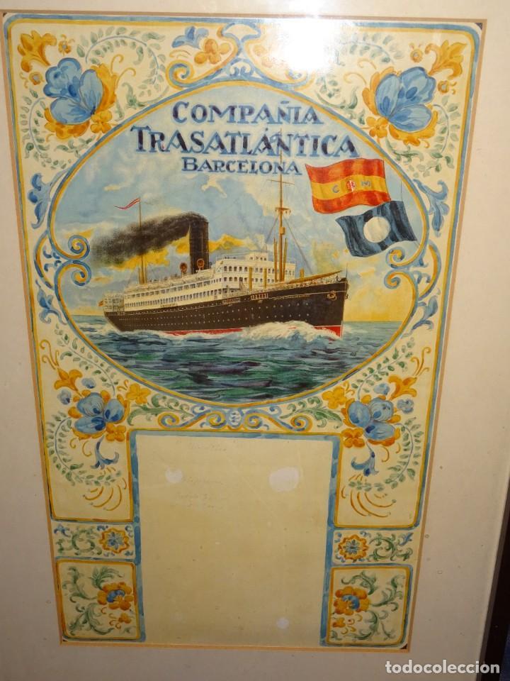Líneas de navegación: (M) DIBUJO ORIGINAL CARTEL COMPAÑIA TRASATLÁNTICA BARCELONA AÑOS 20, BARCO - NAVIERAS - Foto 3 - 285061123
