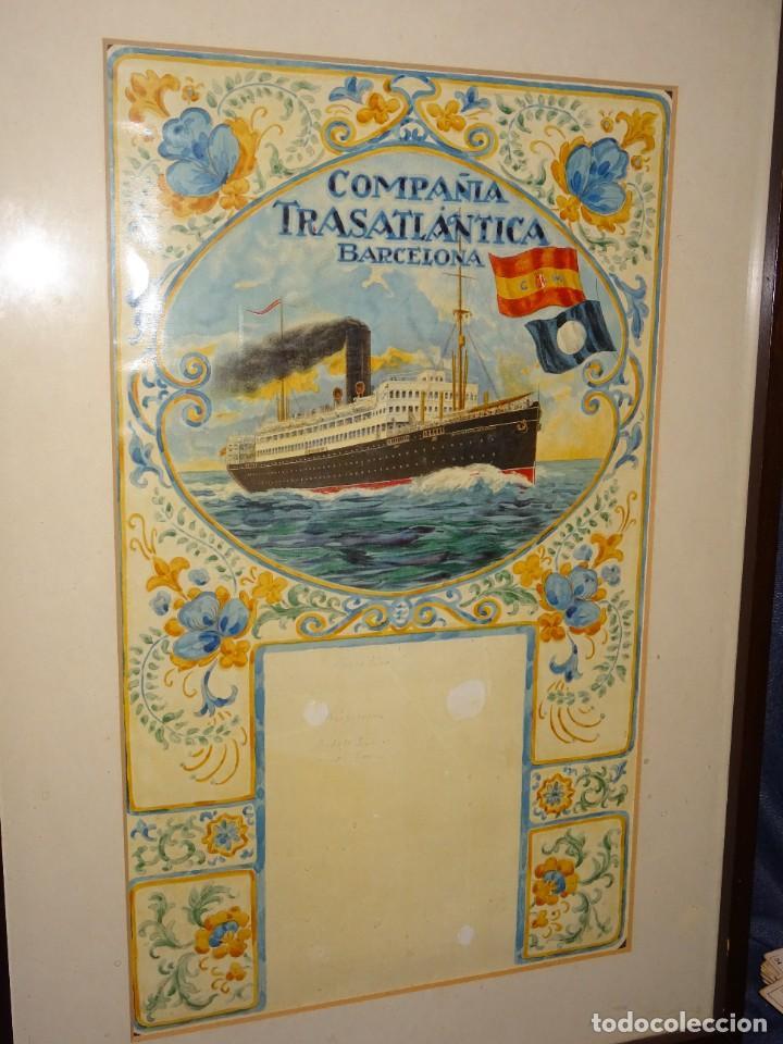 Líneas de navegación: (M) DIBUJO ORIGINAL CARTEL COMPAÑIA TRASATLÁNTICA BARCELONA AÑOS 20, BARCO - NAVIERAS - Foto 5 - 285061123