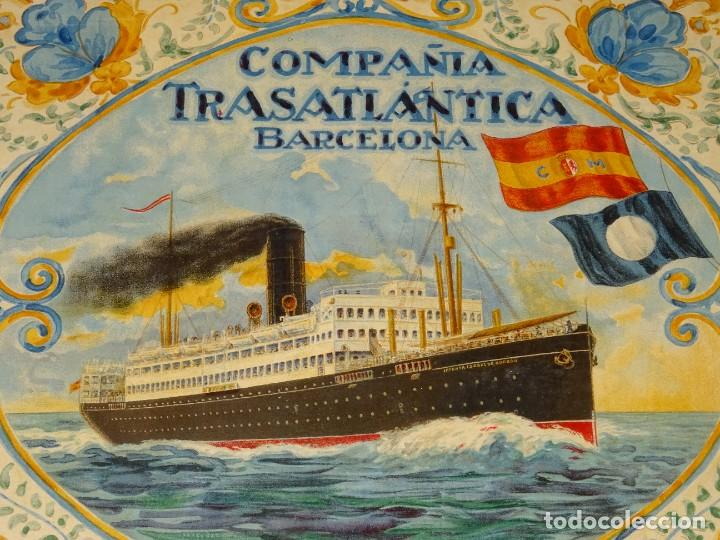 Líneas de navegación: (M) DIBUJO ORIGINAL CARTEL COMPAÑIA TRASATLÁNTICA BARCELONA AÑOS 20, BARCO - NAVIERAS - Foto 6 - 285061123