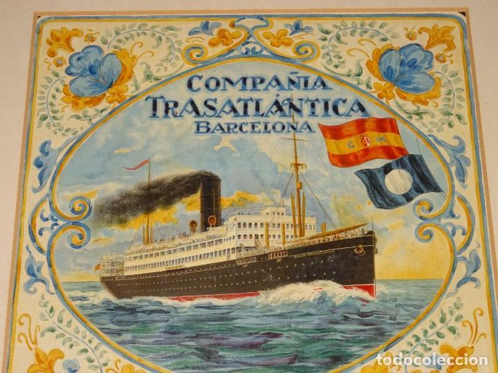 (M) DIBUJO ORIGINAL CARTEL COMPAÑIA TRASATLÁNTICA BARCELONA AÑOS 20, BARCO - NAVIERAS (Coleccionismo - Líneas de Navegación)