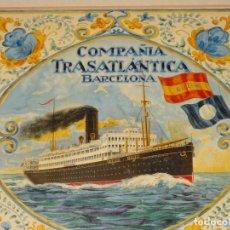 Líneas de navegación: (M) DIBUJO ORIGINAL CARTEL COMPAÑIA TRASATLÁNTICA BARCELONA AÑOS 20, BARCO - NAVIERAS. Lote 285061123