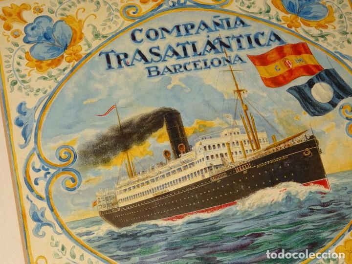 Líneas de navegación: (M) DIBUJO ORIGINAL CARTEL COMPAÑIA TRASATLÁNTICA BARCELONA AÑOS 20, BARCO - NAVIERAS - Foto 7 - 285061123