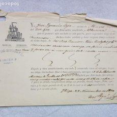 Líneas de navegación: FLETE RAMON VDA QUETGLAS Y CIA IBNIZA A SANTANDER CAPITAN DE MUROS GALICIA SACOS CORTEZA DE PINO. Lote 287267663