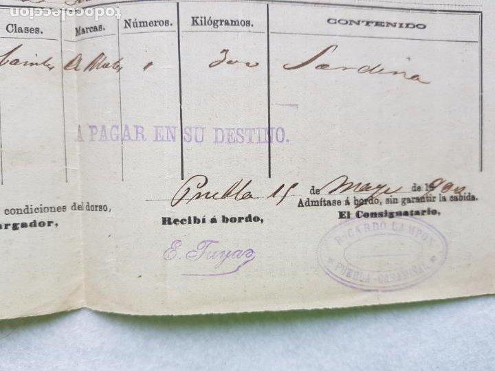 Líneas de navegación: VAPORES DE OLAVARRIA LOZANO 1906 ? FLETE DE PUEBLA A GIJON ASTURIAS RICARDO LAMPON PUEBLA CARAMIÑAL - Foto 2 - 287268098