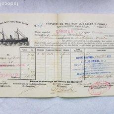 Líneas de navegación: FLETE 1899 VAPORES DE MELITON GONZALEZ A PUEBLA CARAMIÑAL GALICIA. Lote 287268528