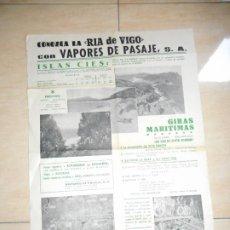Líneas de navegación: ANTIGUO CARTEL PUBLICITARIO.VAPORES DE PASAJE S.A. RIA DE VIGO.TARIFAS-ITINERARIOS. 1972. Lote 289342263