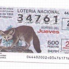 Lotería Nacional: 10-2 LOTERÍA JUEVES SORTEO 44/94. Lote 41572