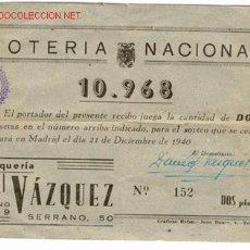 Lotería Nacional: LOTERIA - SORTEO 21 DICIEMBRE 1940. Lote 27007995