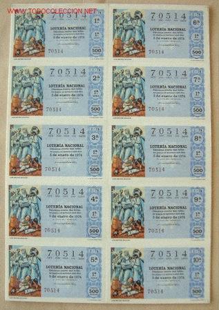 COLECCION COMPLETA EN BILLETES DE LOTERIA NACIONAL DEL AÑO 1974 (Coleccionismo - Lotería Nacional)