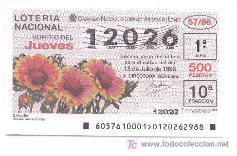 10-21. LOTERIA NACIONAL JUEVES. SORTEO 57/96 (Coleccionismo - Lotería Nacional)