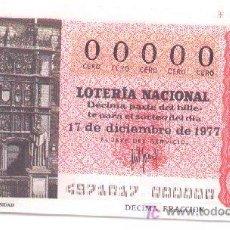 Lotería Nacional: 9-31. LOTERIA NACIONAL DÉCIMO Nº 00000, SORTEO 49/77. Lote 3379502