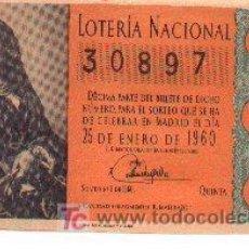 Lotería Nacional: 9-77. LOTERIA NACIONAL DÉCIMO 25-1-60. MARRON CLARO. BC. SORTEO 3. Lote 3379585