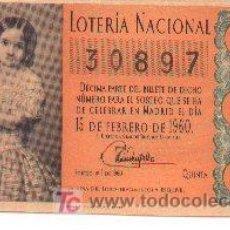 Lotería Nacional: 9-79. LOTERIA NACIONAL. DÉCIMO 15-2-60. SORTEO 5. NARANJA. BC. Lote 3379591