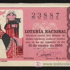 Lotería Nacional: LOTERÍA NACIONAL - SORTEO 15 DE ENERO DE 1966. Lote 3444563