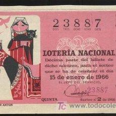 Lotería Nacional: LOTERÍA NACIONAL - SORTEO 15 DE ENERO DE 1966. Lote 3467583