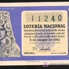 Lotería Nacional: LOTERÍA NACIONAL - SORTEO 5 DE MAYO 1961 (SORTEO 13). Lote 25001431