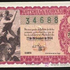 Lotería Nacional: LOTERÍA NACIONAL - SORTEO 22 DE DICIEMBRE 1956 (Nº 36). Lote 4340304