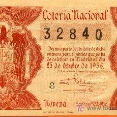 Lotería Nacional: LON1 563001 LOTERIA NACIONAL, AÑO 1956 SORTEO 30. Lote 3907700