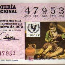 Lotería Nacional: DÉCIMO LOTERIA NACIONAL - 4 / OCTUBRE / 1972 - MURILLO - NIÑO MENDIGO. Lote 4454911