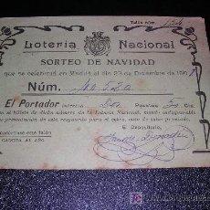 Lotería Nacional: LOTERIA NACIONAL SORTEO DE NAVIDAD 23 DE DICIEMBRE DEL 1907. Lote 6586886