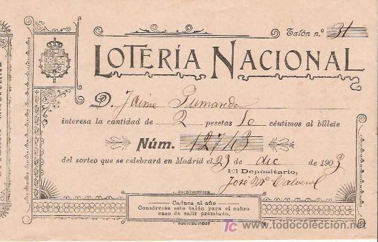 PARTICIPACIÓN NOMINAL DE LOTERÍA – 1903 (Coleccionismo - Lotería Nacional)