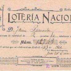 Lotería Nacional: PARTICIPACIÓN NOMINAL DE LOTERÍA – 1903. Lote 24216079