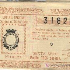 Lotería Nacional: 1932 DECIMO DE LOTERIA NACIONAL INCOMPLETO. Lote 4918002