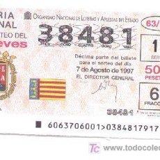 Lotería Nacional: 10-55. LOTERIA DEL JUEVES. SORTEO 63/97. Lote 5348190