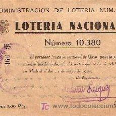 Lotería Nacional: BILLETE LOTERIA NACIONAL 1942. Lote 5997050